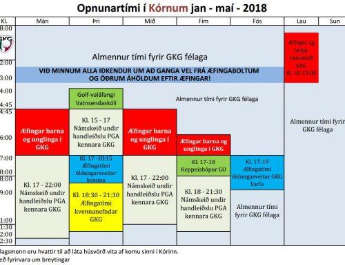 Opnunartímar í Kórnum og Íþróttamiðstöð GKG